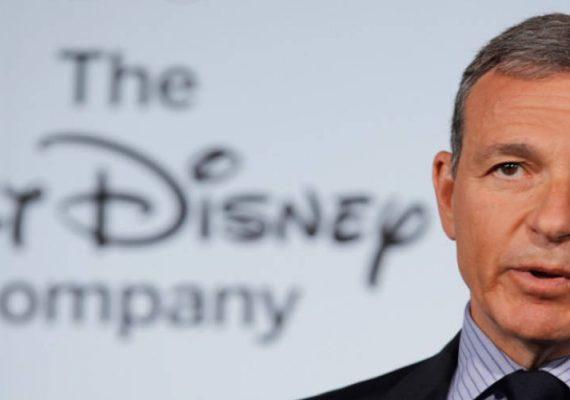 Bob Iger, CEO of Walt Disney talks to the press.