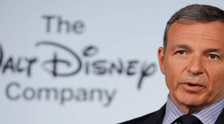 Bob Iger, CEO of Walt Disney talks to the press.