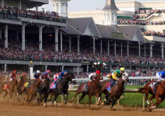 A horse racing derby in Kentucky.