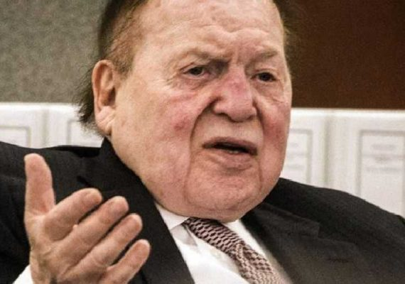 A picture of Sheldon Adelson talking