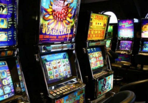 Pokies machines all across the casino.