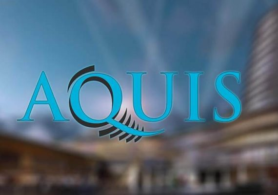 Acquis's logo against a background of Canberra casino