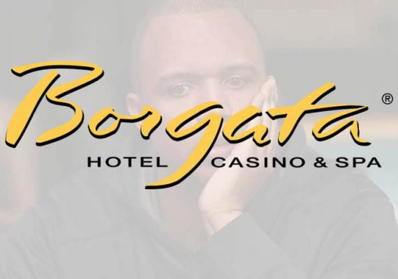 Borgata's logo against a background of Phil Ivey.