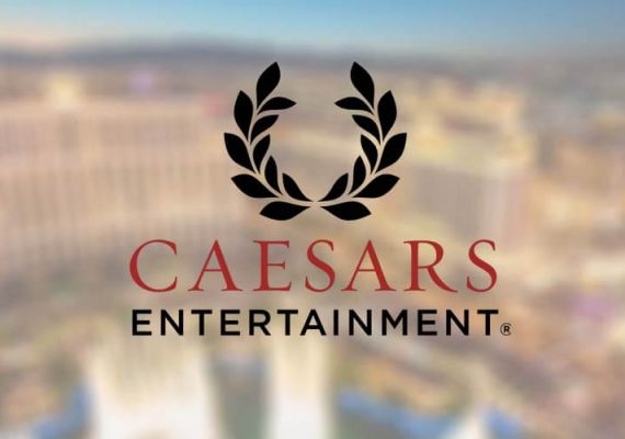 Caesars Entertainment's logo cast against a background of casino properties.