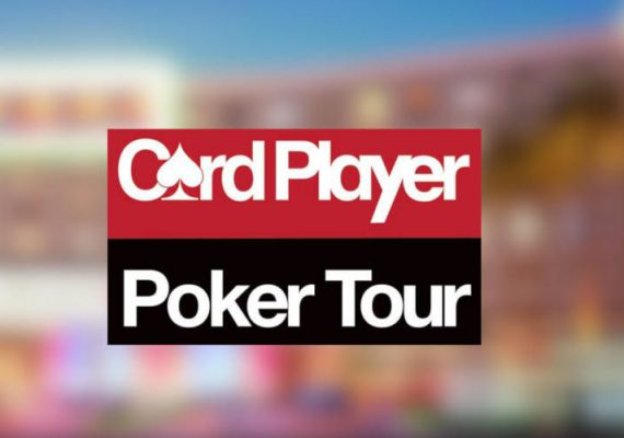 Card player's logo against a casino and hotel background.