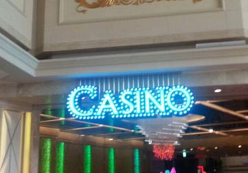The entrance to a casino