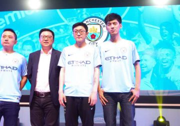 Manchester City esports players in China.