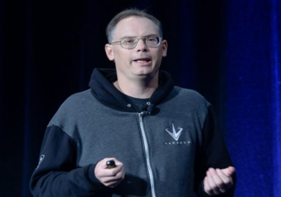 Epic Games's CEO Tim Sweeney at a conference.