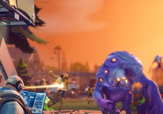 Fortnite toon staving off a zombie attack