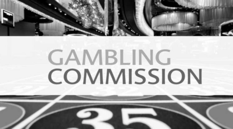 Gambling Commission's logo on a background of roulette table.