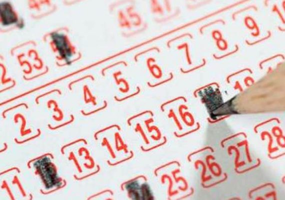Pencil filling out lottery numbers.