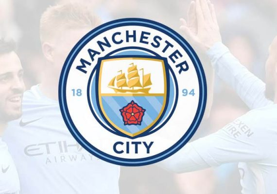 Manchester City's logo and players