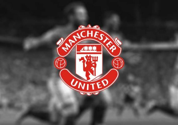 Manchester United's logo against a backdrop of rejoicing Man United footballers.