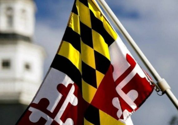 Maryland's state flag against the House of Representatives building.