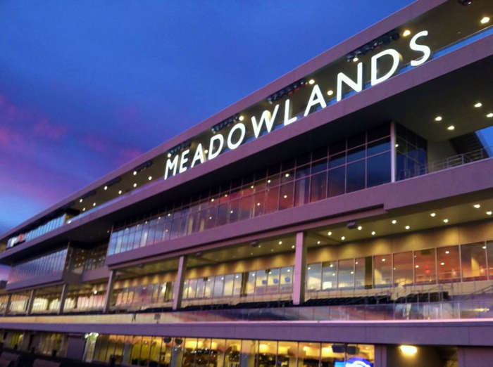 Meadowlands Racetrack at night.