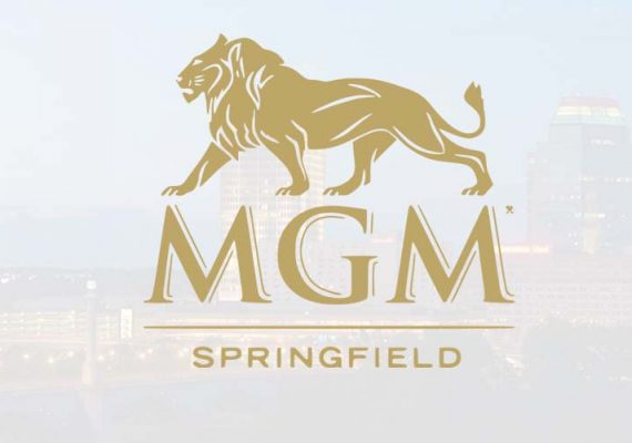 The logo of MGM casino complex in Springfield, Massachusetts.