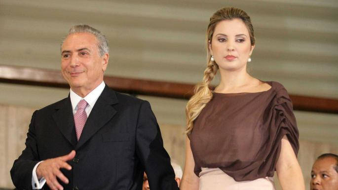 Outgoing Brazilian President Michel Teer and his wife.