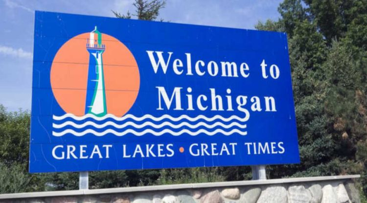 Michigan's welcome sign.