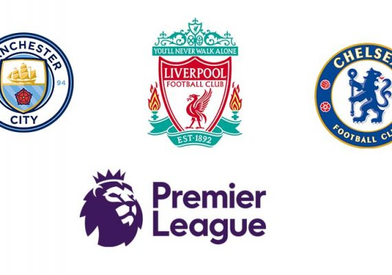 The premier league logo and the logos of the favorite teams.
