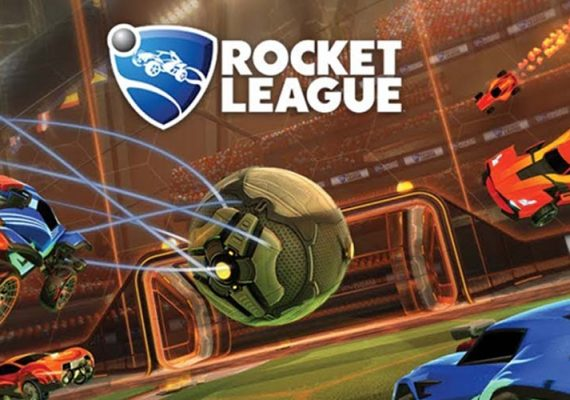 A Rocket League game taking place with the logo of the game overhead.