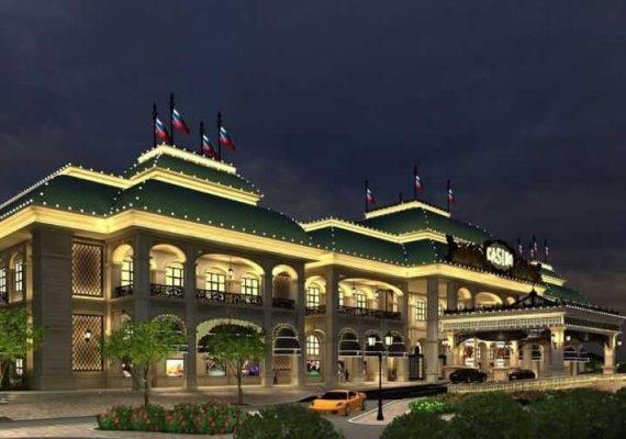 A lit casino in Sochi, Russia