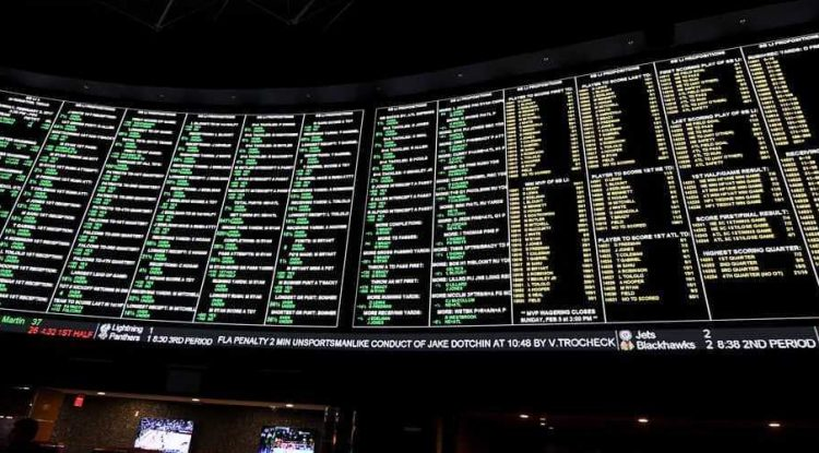 Screens showing sports betting results