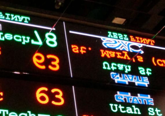 A sports betting board in New York.