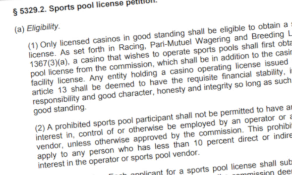 Excerpt from the pre-proposal draft on sports betting in New York.