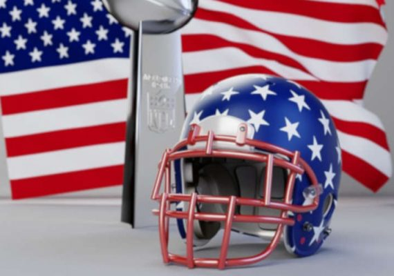 US flag and NFL helmet