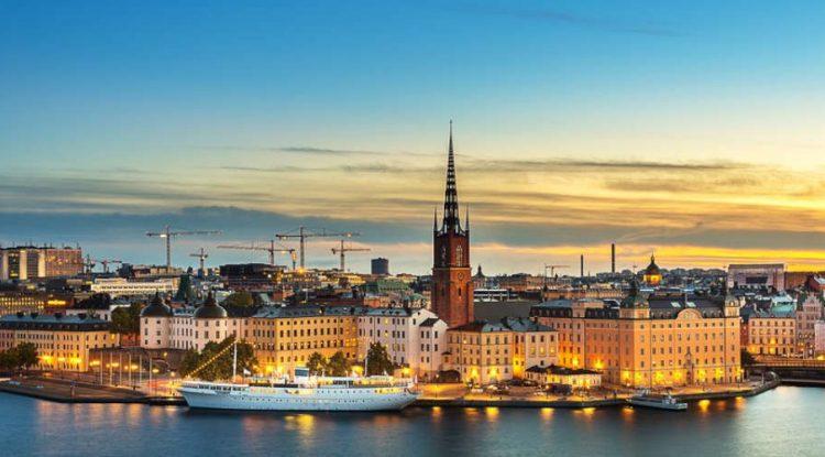 Stockholm, Sweden in the dusk.