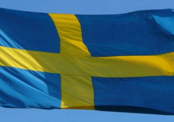 Swedish flag in the wind.