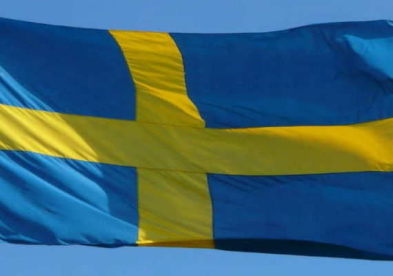 Swedish flag in the wind.