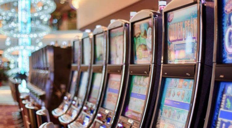 Betting terminals in a casino.