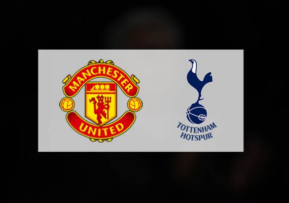 Tottenham and Manchester United's logos side by side.