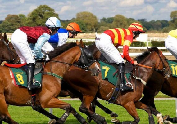 A horseracing competition in progress.