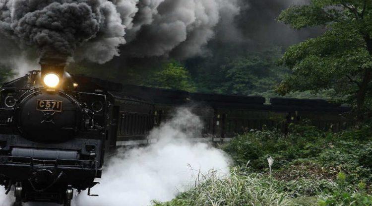 An oncoming steam train.